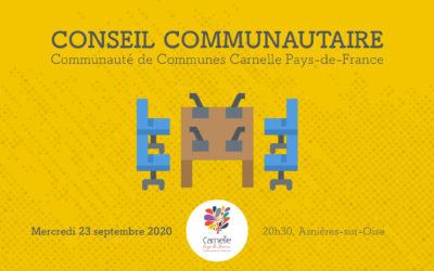 Retour en vidéo sur le conseil communautaire du 23 septembre 2020